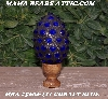 "MBA #5606-211  ""Cobalt Blue Glass Bead Mosaic Egg With Stand"""