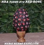 "MBA #5606-272  ""Red Rose Glass Bead Mosaic Egg With Stand"""