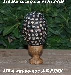 "MBA #5606-277  ""AB Pink Glass Bead Mosaic Egg With Stand"""