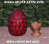"MBA #5605-295  ""Red Glass Bead Mosaic Egg With Stand"""