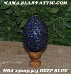 "MBA #5605-303  ""Deep Blue Glass Bead Mosaic Egg With Stand"""