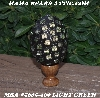 "MBA #5605-309  ""Large Light Green Glass Bead Mosaic Egg With Stand"""