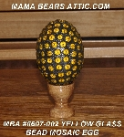 "MBA #5607-002  ""Yellow Glass Bead Mosaic Egg With Stand"""