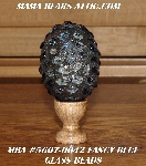 "MBA #5607-0042  ""Fancy Blue Glass Bead Mosaic Egg With Stand"""