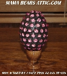 "MBA #5607-91  ""Fancy Pink Glass Bead Mosaic Egg With Stand"""