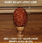 "+MBA #5607-157  ""Silver Lined Brown Glass Bead Egg With Stand"""