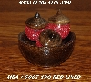 "MBA #5607-198  ""Set Of 3 Red Glass Beaded Acorns & Bowl"""