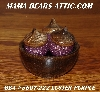 "MBA #5607-222  ""Set Of 3 Luster Purple Glass Beaded Acorns With Bowl"""