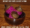 "MBA #5607-229  ""Set Of 3 Metallic Pink Glass Bead Acorns & Bowl"""