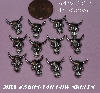 "MBA #5608-140  ""Set Of 12 Silver Tone Metal Cow Skull Embellishments"""