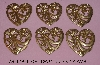"MBA #5608-313  ""Set Of (6) Large Brass Stamped Heart Shaped Embellishments"