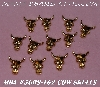 "MBA #5608-162  ""Set Of (12) Gold Tone Metal Cow Skull Embellishments"""