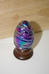 **Artist Signed Mulit Colores Blue Glass Hand Crafted Egg