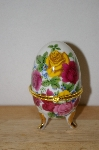 "**MBA #9-239   ""Multi Colored Roses Egg Shaped Trinket Box With Candle Inside"