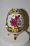Red Roses Ceramic Egg Shaped Trinket Box