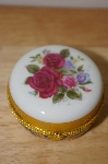 **Red Roses Round Porecline Trinket Box With Candle