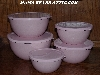 "MBA #Pink19-0028   ""2006 Set Of 5 Pink & White Enameled Storage Bowls With Plastic Lids"""