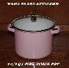"MBA# Pink19-0023    ""2006 2-1/2 QT Pink & White Enameled Stock Pot With Glass Lid"""