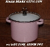 "MBA # Pink19-0014  ""2006 3-1/2 QT Pink & White Enameled Stock Pot With Glass Lid"""