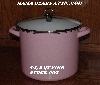 "MBA # Pink19-0001   ""2006 5-1/2 OT Pink & White Enameled Stock Pot With Glass Lid"""