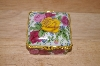 **Multi Colored Roses Square Porcelin Trinket Box With Candle