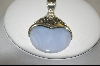 **  Artisan Crafted Sterling Blue Lace Agate Disc Pendant