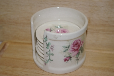 +MBA #9-280  7 Piece Pink Rose Ceramic Coaster Set