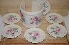 **MBA #9-280  7 Piece Pink Rose Ceramic Coaster Set
