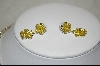 "Sterling ""Yellow"" CZ Floral Necklace W/ Matching Pierced Earrings"