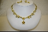 "+MBA #CZY   ""Yellow"" CZ Floral Necklace W/ Matching Pierced Earrings"