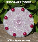 "MBA #5614-0003  ""Pearl White & Pink Glass Bead Round Brooch"""