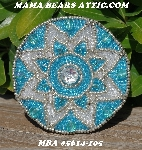 "MBA #5614-105  ""Aqua Blue & Clear Lust Glass Bead Round Brooch"""