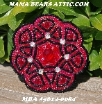 "MBA #5614-0084  ""Luster Red & Black Glass Bead Brooch"""