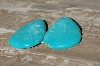 "+MBA #5614- 0037  ""Set Of (2) Tear Drop Shapped Blue Turquoise Stones"""