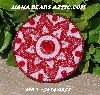 "MBA #5614-0051  ""Red & Pink Glass Bead Round Brooch"""