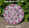 "MBA #5614-0056  ""Silver & Pink Glass Bead Round Brooch"""