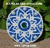 "MBA #5614-0087  ""White & Blue Glass Bead Round Brooch"""
