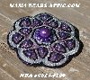 "MBA #5614-0199  ""Lavender & Clear Luster Glass Bead Brooch"""