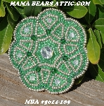 "MBA #5614-109  ""Metallic Silver & Green Glass Bead Round Brooch"""