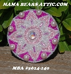 "MBA #5614-140  ""Hot Pink & Pearl White Glass Bead Round Brooch"""