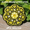 "MBA #5614-149  ""Yellow & Black Glass Bead Round Brooch"""
