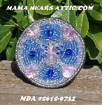 "MBA #5615-9732  ""Silver, Blue & Pink Glass Bead Dragonfly Brooch"""