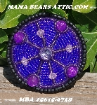 "MBA #5615-9738  ""Black, Purple & Pink Round Glass Bead Brooch"""