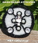 "MBA #5615-9753  ""Black & Clear Luster Panda Bear Round Glass Bead Brooch"""