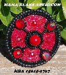 "MBA #5615-9767  ""Black & Red Glass Round Bead Brooch"""