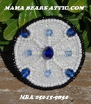 MBA #5615-9850  Black, White & Blue Bead Brooch""
