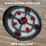 "MBA #5615-9859 ""Grey, Clear Luster & Red Bead Ladybug Bead Brooch"""