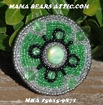 "MBA #5615-9871  ""Silver, Green & Black Glass Bead Brooch"""