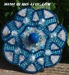 "MBA #5616B-153  ""Blue & Pearl White Glass Bead Brooch"""