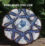 "MBA #5616B-161  ""Copper, Pearl White & Blue Glass Bead Brooch"""